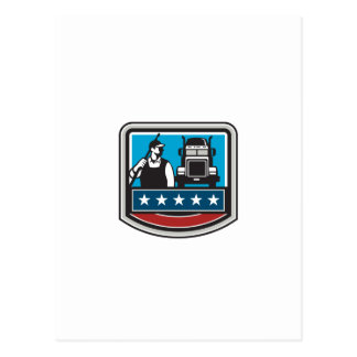 Pressure Washer Worker Truck Crest USA Flag Retro Postcard