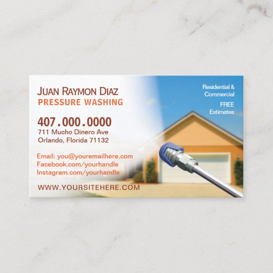 Pressure washing cleaning business card template zazzle pressure washing cleaning business card template accmission Images
