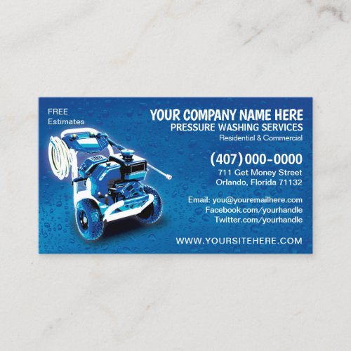 Pressure Washing  Cleaning Business Card Template