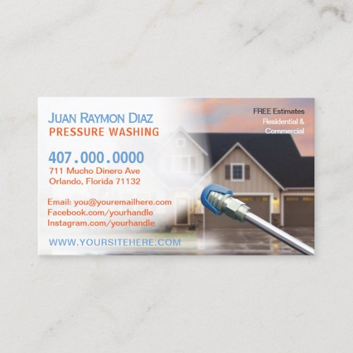 Pressure Washing  Power Cleaning Template Business Card
