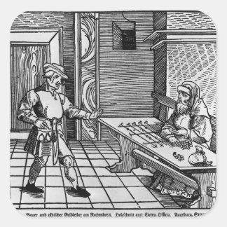 Prestamista de dinero, 1531 pegatina cuadrada