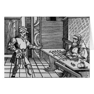 Prestamista de dinero, 1531 tarjeta de felicitación