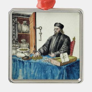 Prestamista veneciano, de un libro ilustrado adorno navideño cuadrado de metal