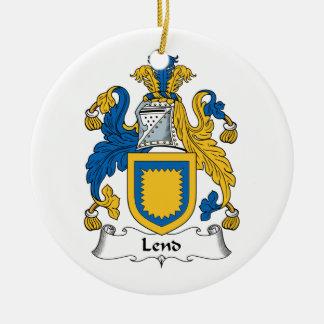 Preste el escudo de la familia adorno redondo de cerámica