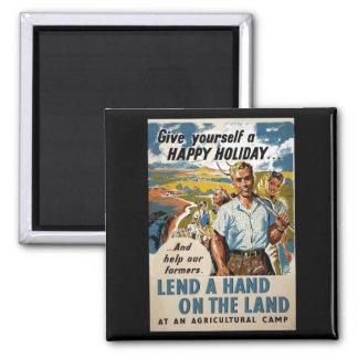 Preste una mano en el poster del at_Propaganda de Imán Cuadrado