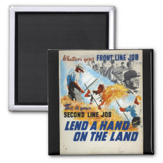 Preste una mano en el poster del land_Propaganda Imán Cuadrado