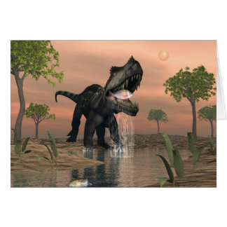 Prestosuchus dinosaur fishing - 3D render Card
