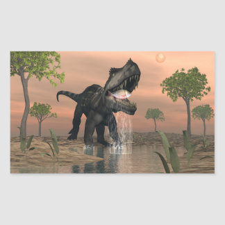 Prestosuchus dinosaur fishing - 3D render Rectangular Sticker