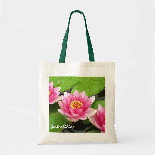 Presupuesto rosado Totebag de Waterlilies Bolsas