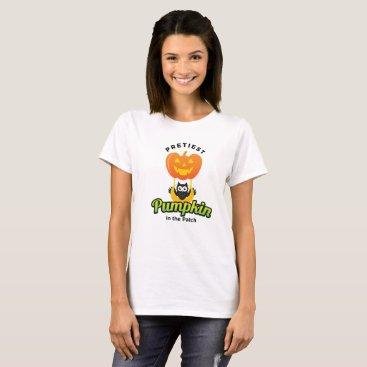 Halloween Themed Pretiest Pumpkin cute scary face owl  moon T-Shirt