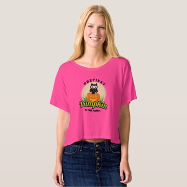 Halloween Themed Pretiest Pumpkin in the Patch owl with moon grass T-shirt
