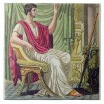"Pretor, no. 38 de ""Roma antigua"", grabada por L Azulejo Cuadrado Grande"