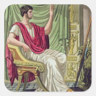 Pretor no 38 de Roma antigua grabada por L Calcomania Cuadradas Personalizadas