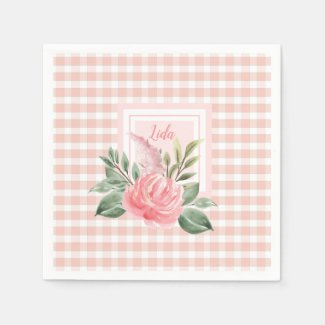 Prettiest Pink Rose and Lilac Personalized Napkins