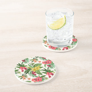 Prettily Exotic Flowers Sandstone Coaster