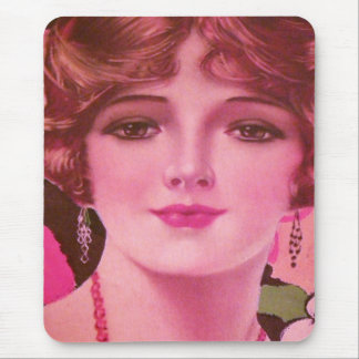 Pretty 1920s Flapper Girl Mouse Pad