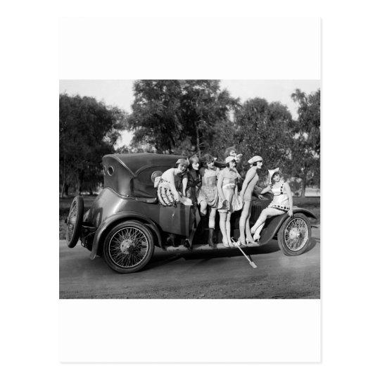 Pretty 1920s Girls, Antique Car Postcard