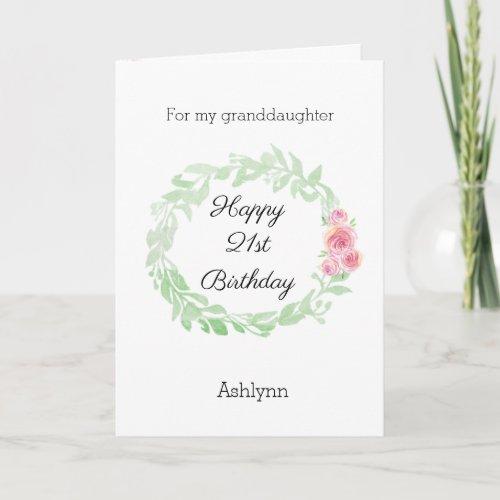 Pretty 21st Birthday Granddaughter Card
