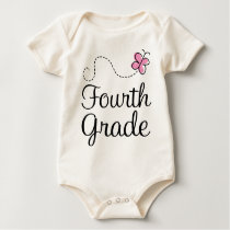 Pretty 4th Grade Pink Butterfly Baby Bodysuit