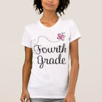 Pretty 4th Grade Pink Butterfly T-Shirt