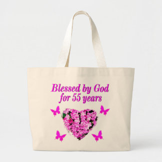PRETTY 55TH BIRTHDAY FLORAL LARGE TOTE BAG