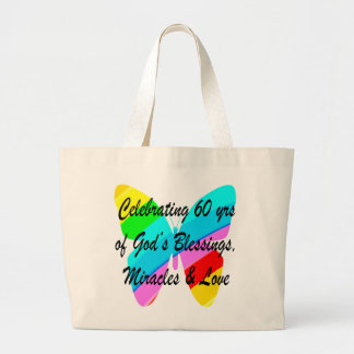 PRETTY 60TH BIRTHDAY RAINBOW BUTTERFLY DESIGN LARGE TOTE BAG