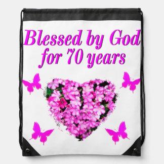 PRETTY 70TH PINK FLORAL BIRTHDAY DESIGN DRAWSTRING BAG