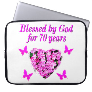 PRETTY 70TH PINK FLORAL BIRTHDAY DESIGN LAPTOP COMPUTER SLEEVE