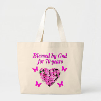 PRETTY 70TH PINK FLORAL BIRTHDAY DESIGN LARGE TOTE BAG
