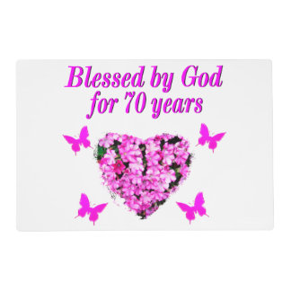PRETTY 70TH PINK FLORAL BIRTHDAY DESIGN PLACEMAT