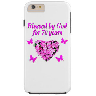 PRETTY 70TH PINK FLORAL BIRTHDAY DESIGN TOUGH iPhone 6 PLUS CASE