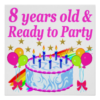 PRETTY 8TH BIRTHDAY PARTY CELEBRATION POSTER