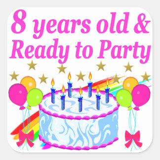 PRETTY 8TH BIRTHDAY PARTY CELEBRATION SQUARE STICKER