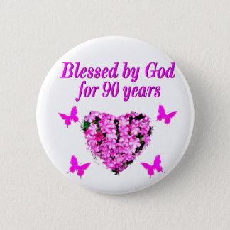 PRETTY 90TH BIRTHDAY FLORAL BUTTON