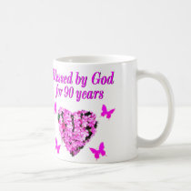 PRETTY 90TH BIRTHDAY FLORAL COFFEE MUG