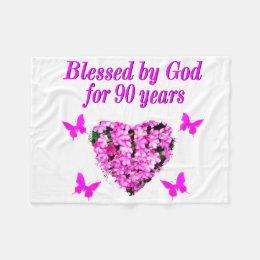 PRETTY 90TH BIRTHDAY FLORAL FLEECE BLANKET