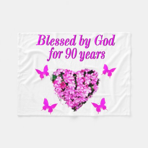 Blessed By God For 90 Years Floral Fleece Blanket