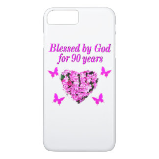 PRETTY 90TH BIRTHDAY FLORAL iPhone 8 PLUS/7 PLUS CASE