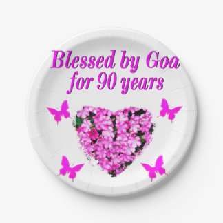 PRETTY 90TH BIRTHDAY FLORAL PAPER PLATE