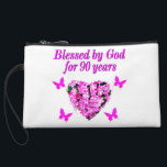 """PRETTY 90TH BIRTHDAY FLORAL WRISTLET<br><div class=""""desc"""">This lovely and charming 90 year old will love to celebrate turning 90 with this beautiful pink floral 90th birthday photo design on Tees, Tote bags, Mugs, and Gifts. This 90 year old has been blessed by God for 90 years and is celebrating God&#39;s love. Delight your spiritual and Christian...</div>"""