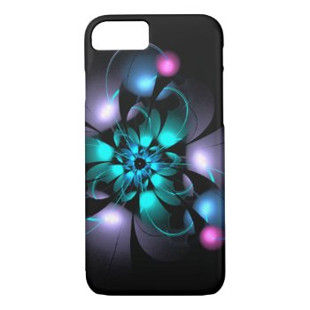 Pretty Abstract Aqua Flower Flourish Case