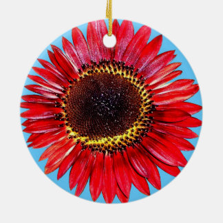 Pretty Abstract Autumn Beauty Sunflower on Blue Ornaments