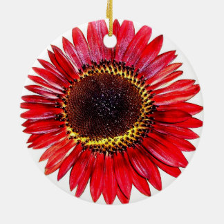 Pretty Abstract Autumn Beauty Sunflower on White Christmas Ornaments