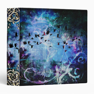 Pretty Abstract Fantasy Raven Magic Flourish 3 Ring Binder