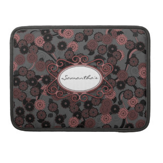 Pretty Abstract Floral Pattern in Dark Dusky Pink Sleeve For MacBooks