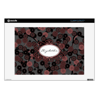 Pretty Abstract Floral Pattern in Dark Dusky Pink Skins For Laptops
