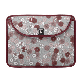 Pretty Abstract Floral Pattern in Muted Girly Pink MacBook Pro Sleeves