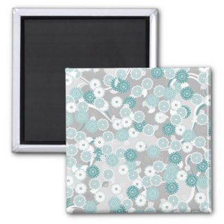 Pretty Abstract Floral Pattern in Teal and Grey 2 Inch Square Magnet