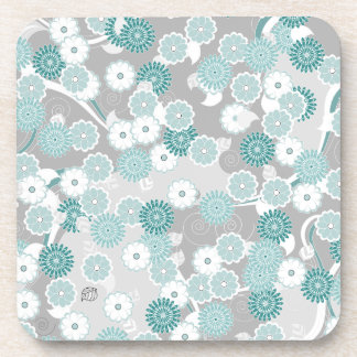 Pretty Abstract Floral Pattern in Teal and Grey Beverage Coaster
