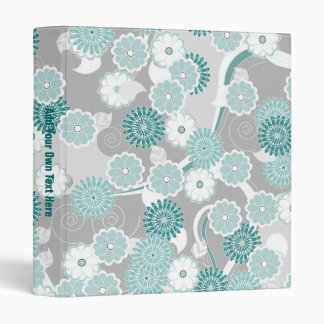 Pretty Abstract Floral Pattern in Teal and Grey Binder
